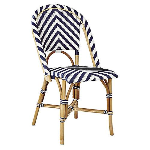 Riviera Chevron Side Chair, Blue/White