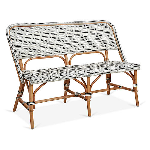 Margot Bench, Ivory/Black