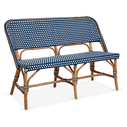 Chloe Bench, White/Navy