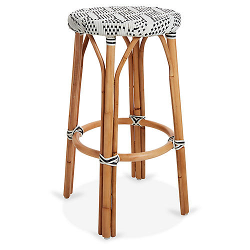Margot Bistro Barstool, Ivory/Black