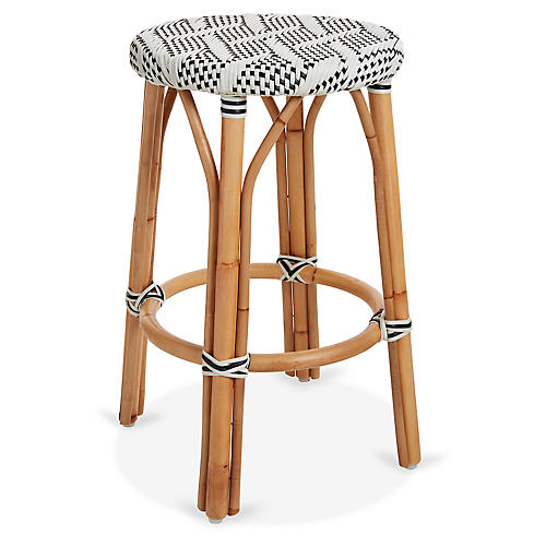 Margot Bistro Counter Stool, Ivory/Black