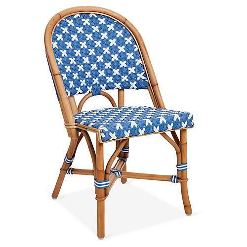 Olivia Bistro Chair, Light Blue/White