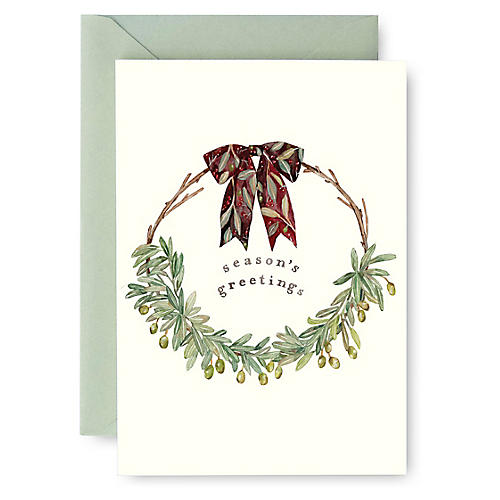 S/8 Olive Wreath Boxed Cards