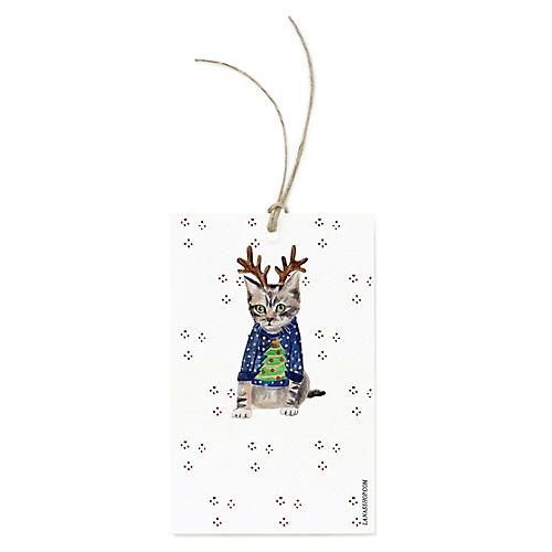 S/12 Reindeer Cat Gift Tags