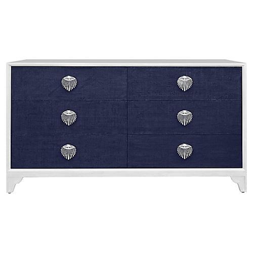 Shanghai 6-Drawer Dresser, Navy/White