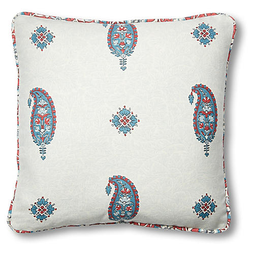 Ojai 18x18 Pillow, Red/Blue