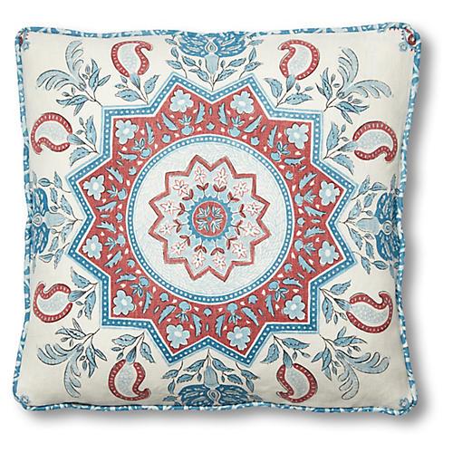 Montecito 18x18 Pillow, Red/Blue Linen