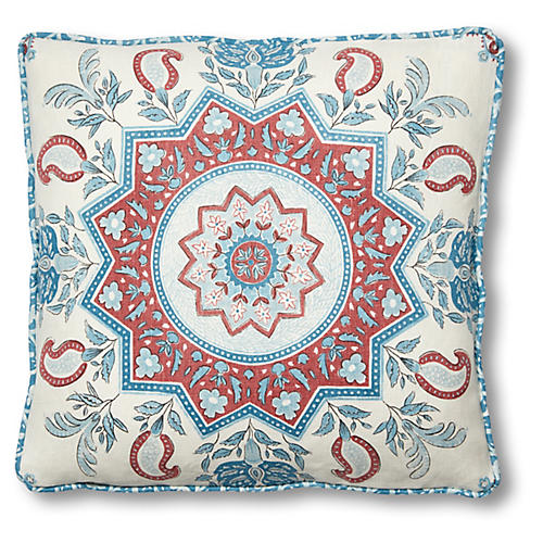 Montecito 18x18 Pillow, Red/Blue Linen