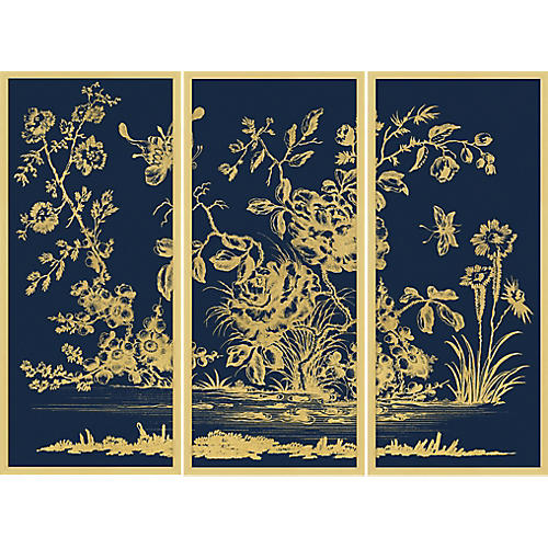 Gold Leaf Chinoiserie Triptych