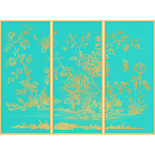 Gold Chinoiserie Triptych II
