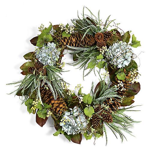 """36"""" Fern & Hydrangea Wreath, Faux"""