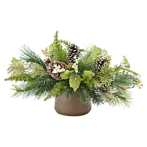 "26"" Evergreen & Pine Centerpiece, Faux"