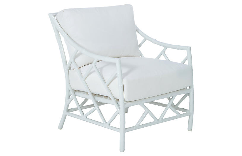 Kit Lounge Chair, White Sunbrella