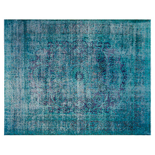 "9'6""x12'6"" Washington Rug, Aqua"