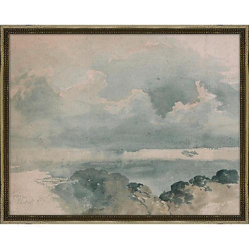 Blue Coastal Watercolor