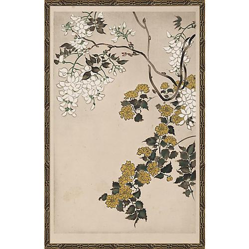 Floral Woodblock Print II