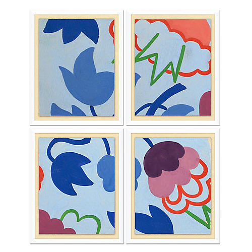 Blue Geometric Pattern Quadriptych