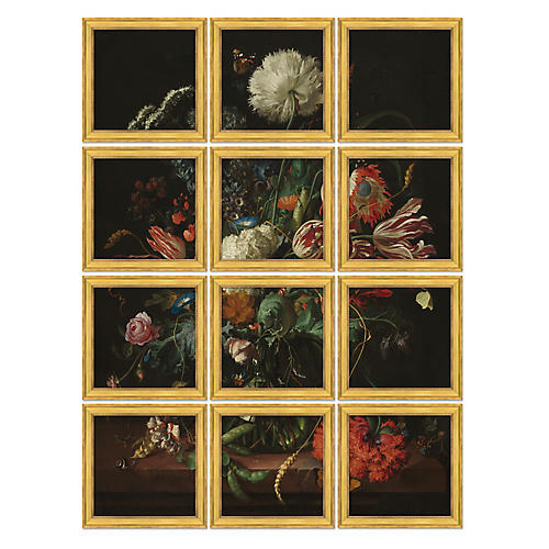 Detailed Flower Bouquet Polyptych