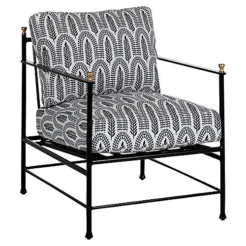 Frances Lounge Chair, Indigo Leaf