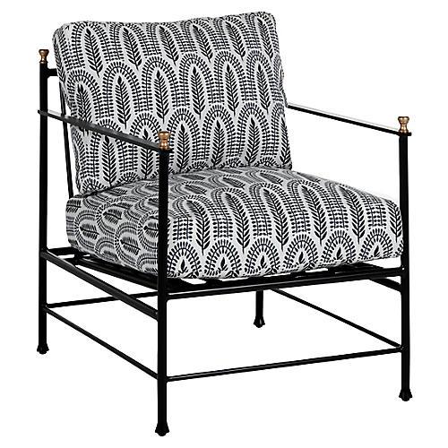 Frances Lounge Chair, Indigo Leaf