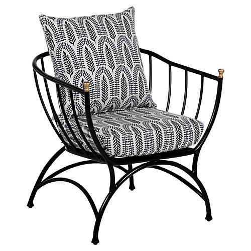 Frances Accent Chair, Indigo Leaf