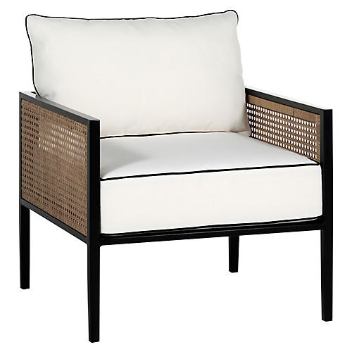Newport Lounge Chair, Black/White Welt