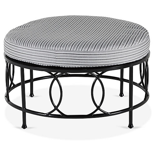 Frances Round Cocktail Ottoman, White/Black Stripe