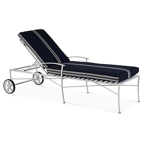 Kendal Chaise, White/Navy Stripe