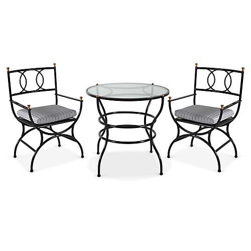 Frances 3-Pc Bistro Dining Set, White/Black Stripe