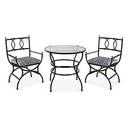 Frances 3-Pc Bistro Dining Set, Indigo Leaf