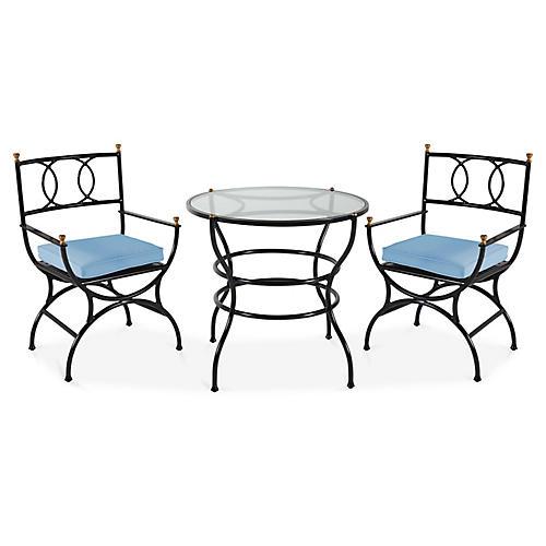 Frances 3-Pc Bistro Dining Set, Ocean Blue
