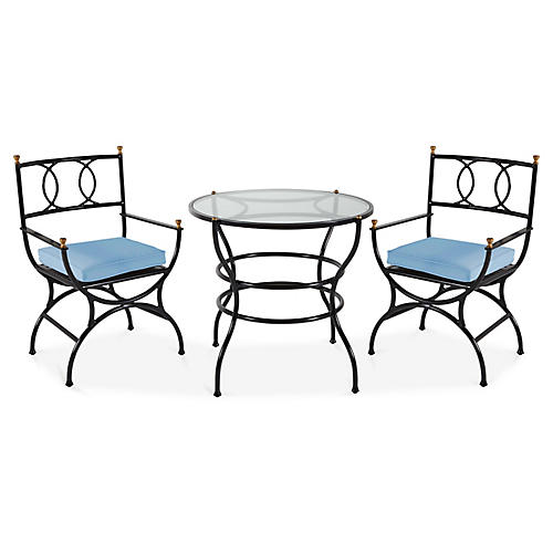 Frances 3-Pc Bistro Dining Set, Ocean Blue