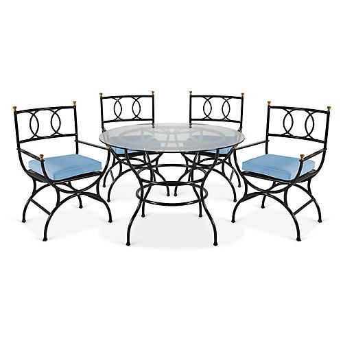 Frances 5-Pc Round Dining Set, Ocean Blue