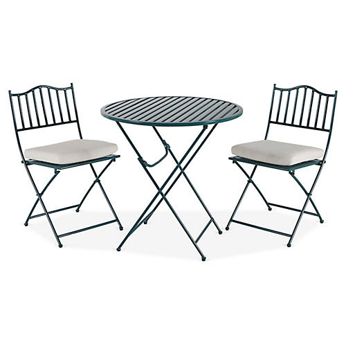Natalie 3-Pc Folding Bistro Set, Green/White