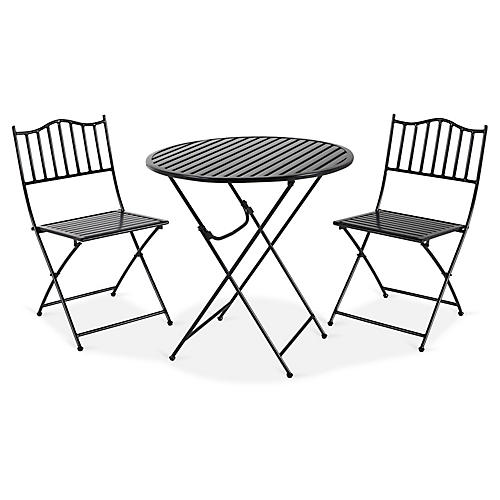 Natalie 3-Pc Folding Bistro Set, Black