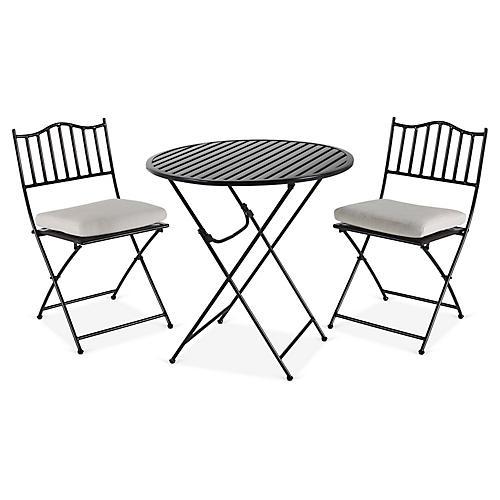 Natalie 3-Pc Folding Bistro Set, Black/White