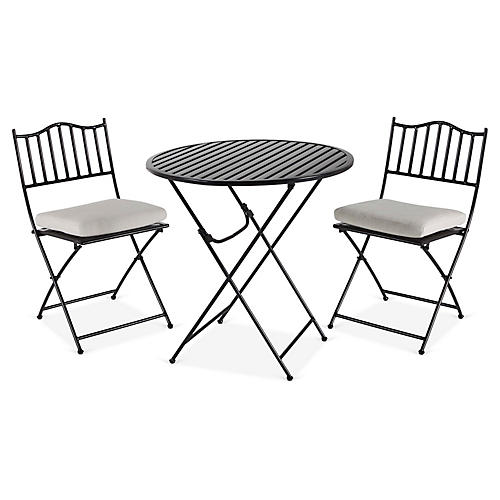 Natalie 3-Pc Folding Bistro Set, Black/White