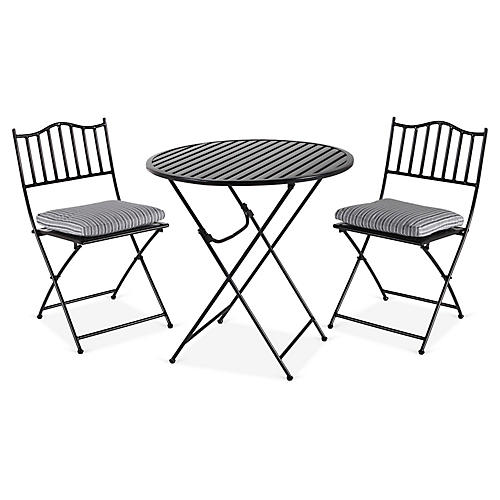 Natalie 3-Pc Folding Bistro Set, Black/Wht Stripe