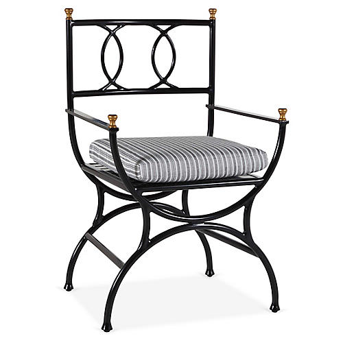 Frances Bistro Chair, White/Black Stripe