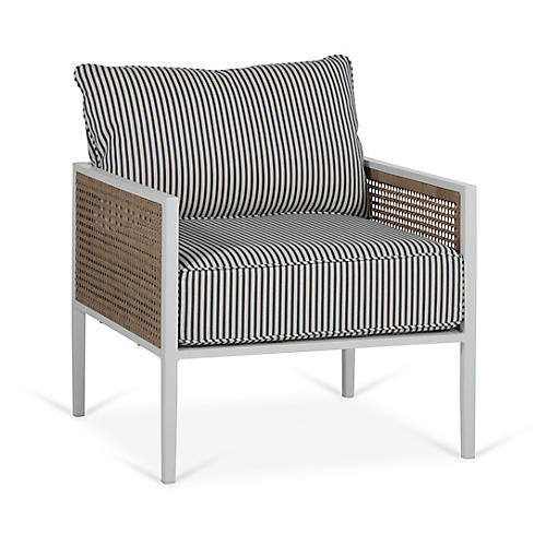 Newport Lounge Chair, Blue/White Stripe