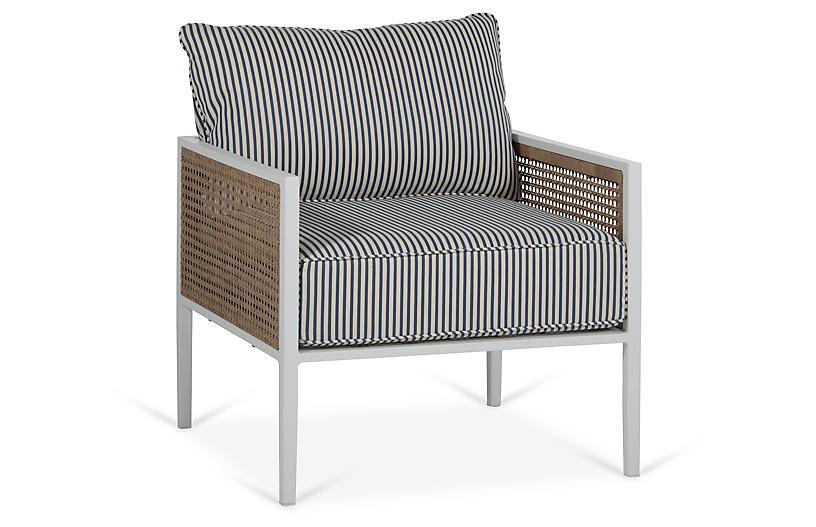 Newport Lounge Chair, Blue/White Stripe