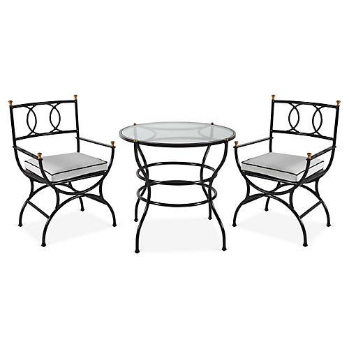 Frances 3-Pc Bistro Dining Set, White/Black