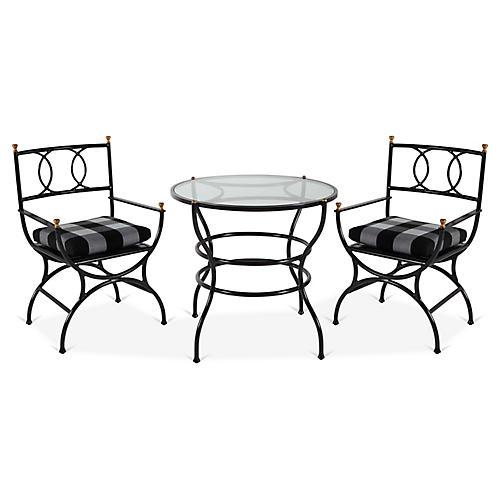 Frances 3-Pc Bistro Dining Set, Gingham