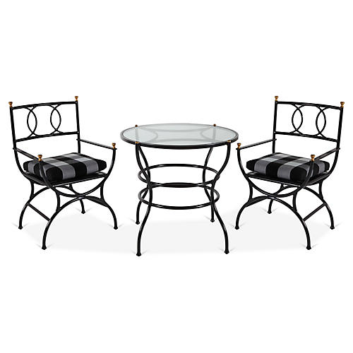 Frances 3-Pc Bistro Dining Set, Gingham
