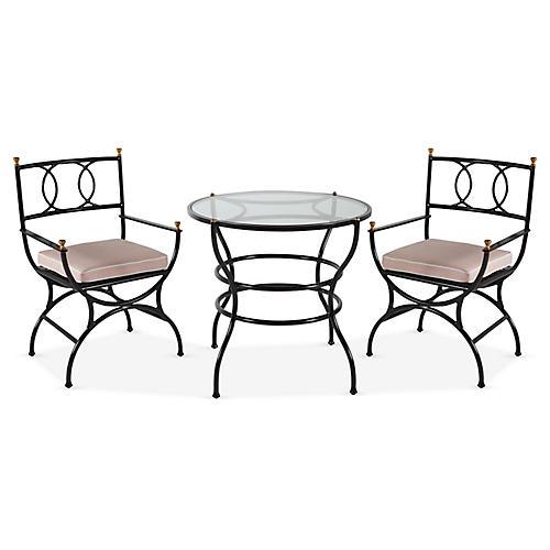 Frances 3-Pc Bistro Dining Set, Blush Pink/White