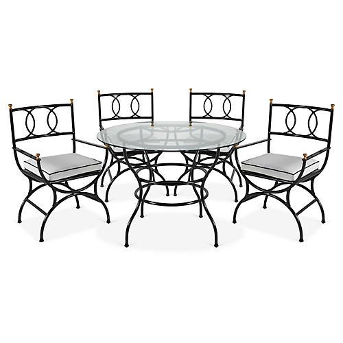 Frances 5-Pc Round Dining Set, White/Black