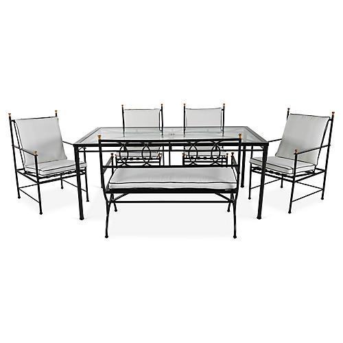 Frances 6-Pc Bench Dining Set, White/Black