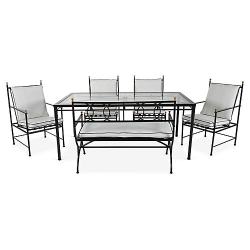 Frances 6-Pc Bench Dining Set, White/Black
