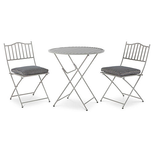 Natalie 3-Pc Folding Bistro Set, White/Blue