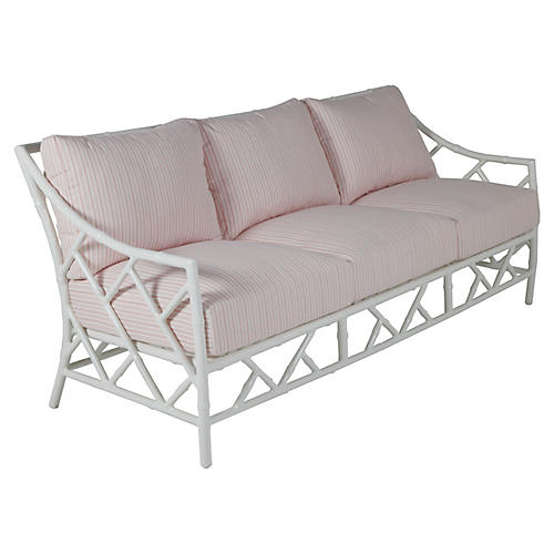 Kit Sofa, White/Pink Stripe Sunbrella